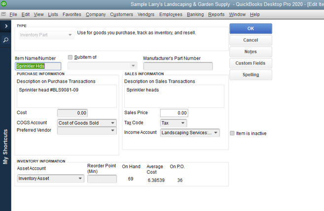 QuickBooks Desktop screen to add an inventory item with form fields for sales and purchase information.