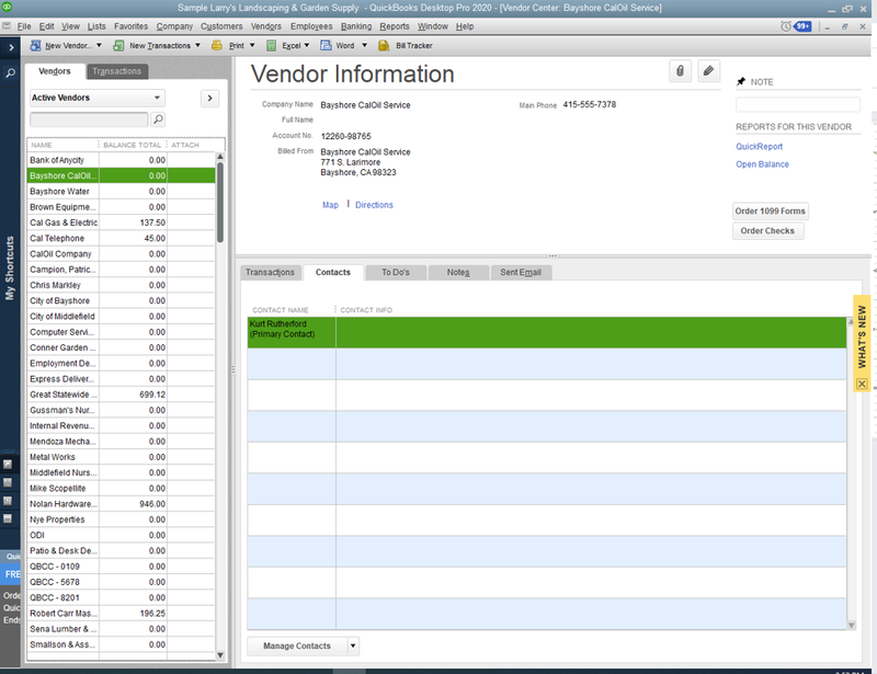 QuickBooks Desktop vendor screen showing list of vendors on the left-hand side and individual vendor information on the right-hand side.