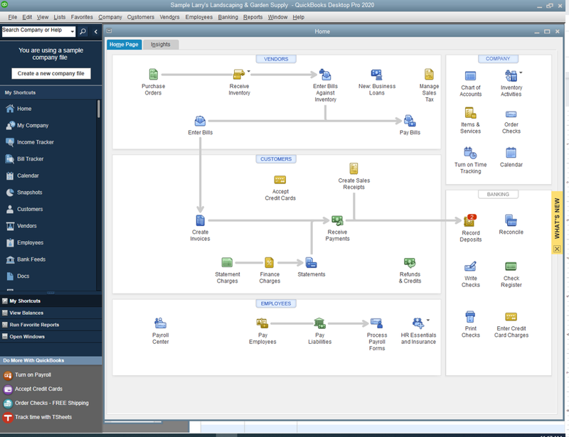 QuickBooks Desktop screen showing a workflow of different connecting statements and actions. There are shortcut icons to each view.