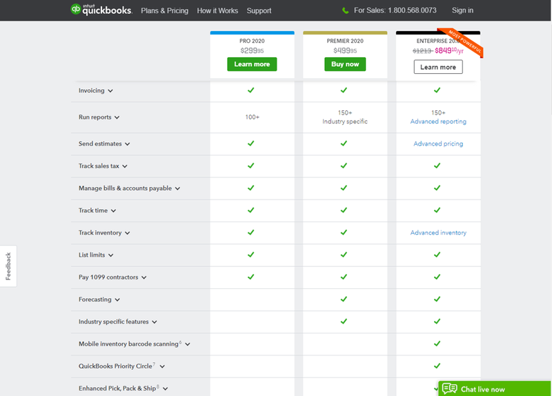 QuickBooks Desktop three pricing levels listing out individual product features in each tier.