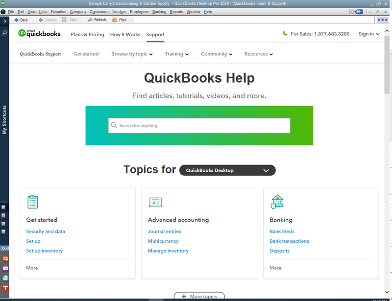 QuickBooks Desktop help screen with a search bar as well as different topics to select from.