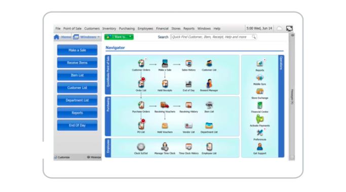 A screenshot of Quickbooks POS' main dashboard to start using the POS software.