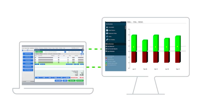 A screenshot of Quickbooks POS' built-in reporting capabilities.