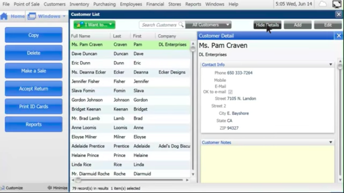 Screenshot of Quickbooks POS' customer relationship management capabilities to help close sales.