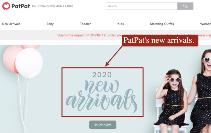 Patpat.com's Homepage