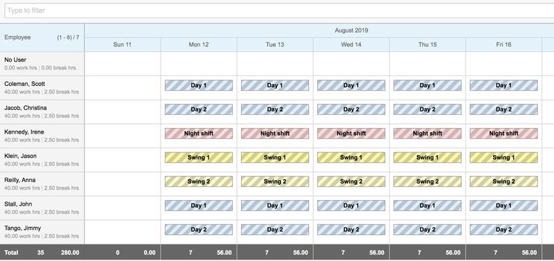 Replicon Week Schedule