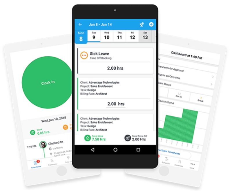 Replicon Mobile App Screens