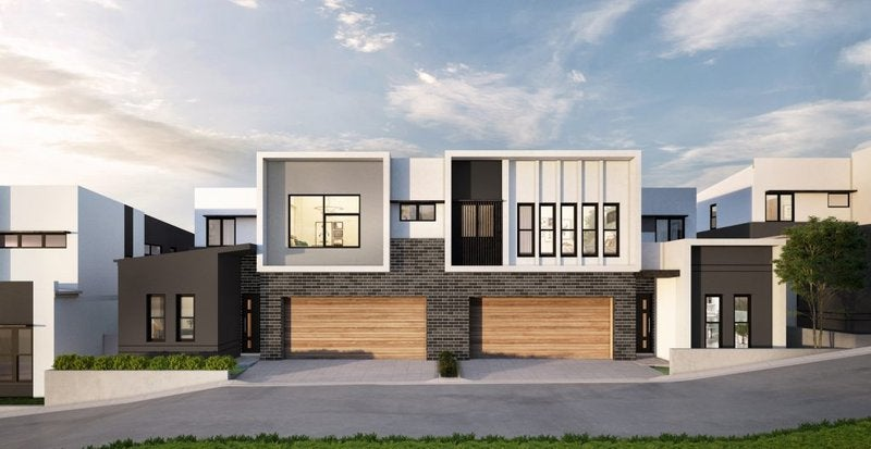 A 3D rendering of a modern two-story house in an upscale neighborhood.