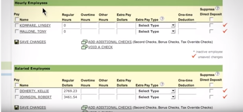 SurePayroll screen with list of salaried and hourly employees with details on regular hours, overtime, extra pay, etc.