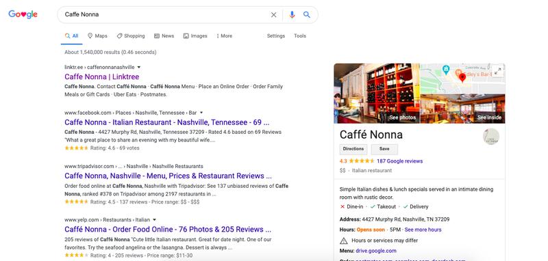 Google search for Caffe Nonna