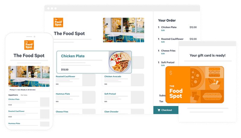 A screenshot of Toast's online ordering and delivery app and website.