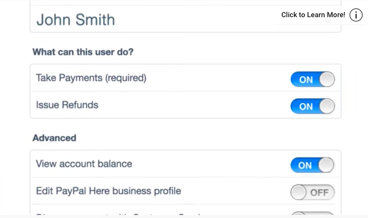 PayPal Here's Control permissions tool