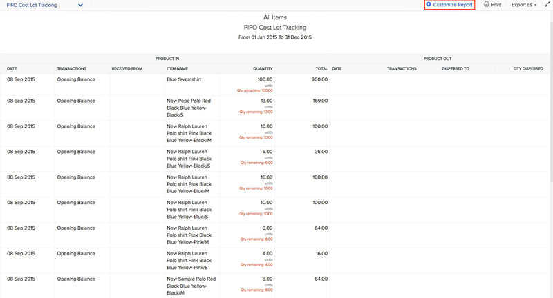 Example of Zoho Inventory's FIFO cost lot tracking report.