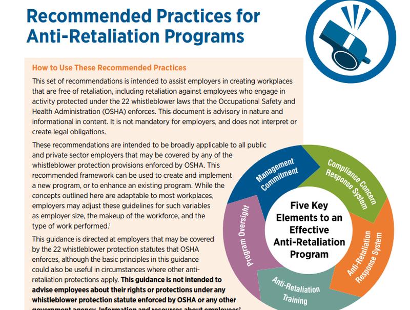 OSHA's printable guide to anti-retaliation programs.