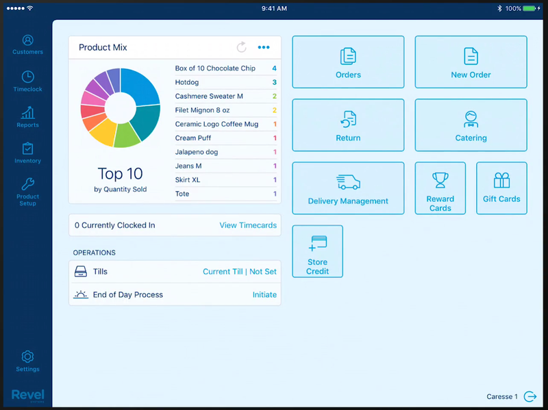 Revel POS's main dashboard showing its vertical navigation menu, a sales pie chart, and buttons with descriptive icons.