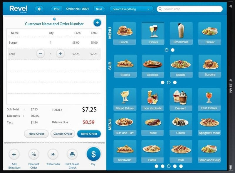 The order interface builds orders on the left from menu options on the right.