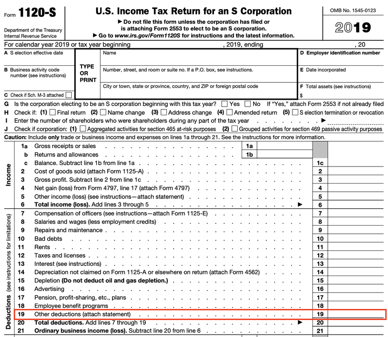 """IRS Form 1120-S showing line 19, for """"Other deductions,"""" boxed in red."""