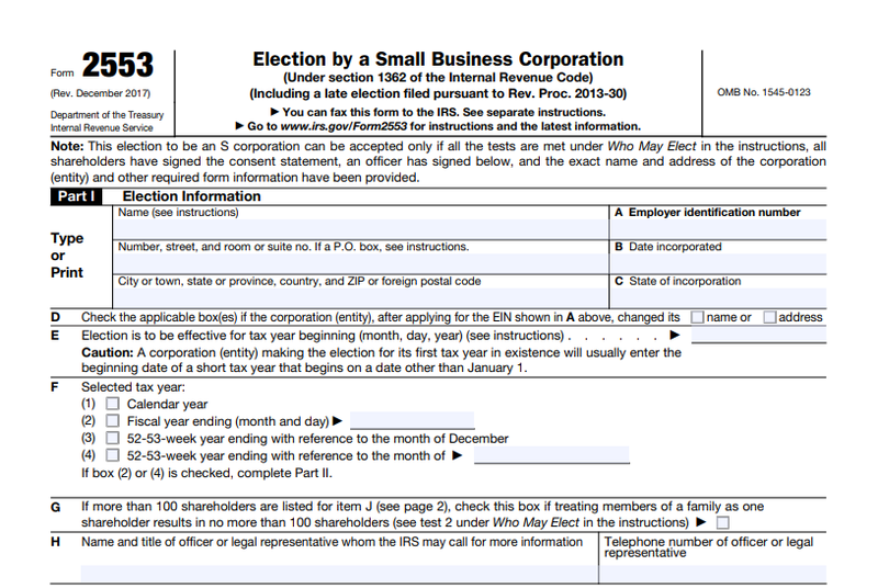 Screenshot of IRS Form 2553, Election by a Small Business Corporation