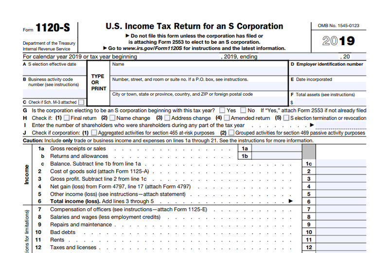 Screenshot of IRS Form 1120-S, Income Tax Return for an S Corporation