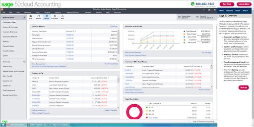 Screenshot of Sage50cloud default dashboard