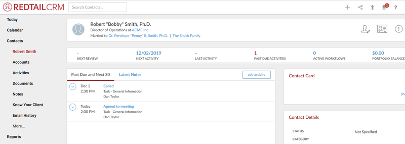 Screenshot of This sample Redtail CRM contact record
