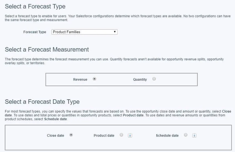 Salesforce CRM forecasting feature with options to select forecasting type, measurement, and date type.