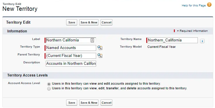 Salesforce CRM territory input screen with fields to input territory name, fiscal year, description, etc.