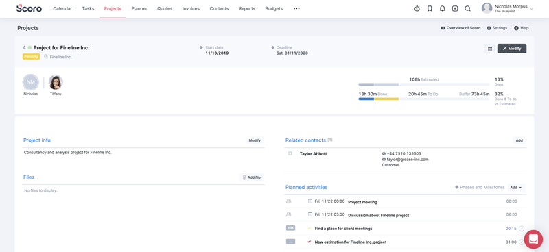 Scoro's task management feature with field for project info, files, related contracts, and planned activities.