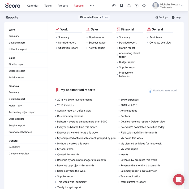 Scoro's list of reports you can create, separated into categories of work, sales, financial, and general