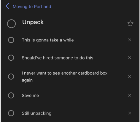 Microsoft To Do list with 6 items, none of which are crossed off, detailing tasks to do to unpack after a move