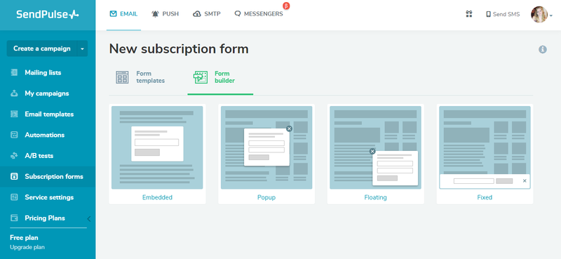 SendPulse subscription form where you can select forms such as embedded, popup, floating, or fixed
