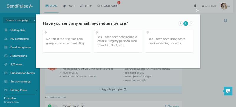 SendPulse Dashboard Screen Example
