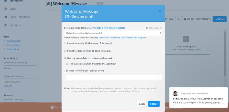 Screenshot of Sendinblue A/B testing tool for autoresponder campaigns.