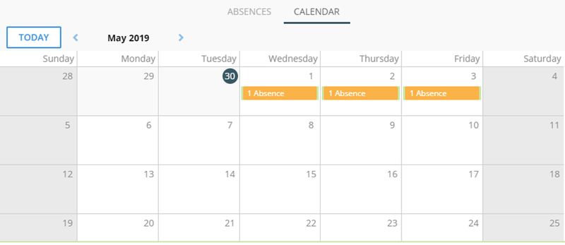 Screenshot of SentricHR's absence tracking page in calendar view.