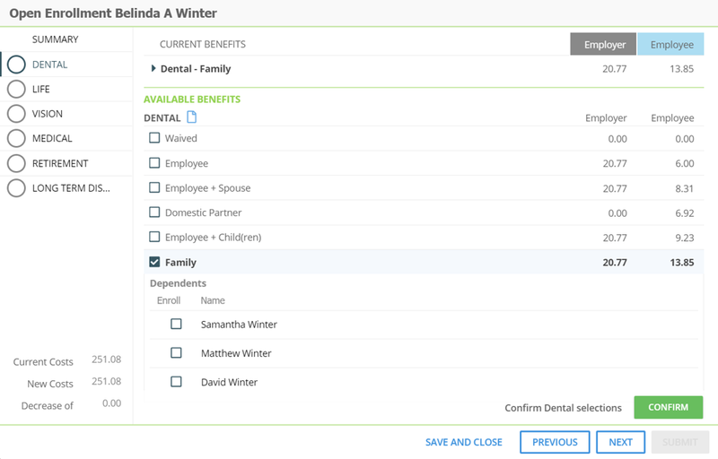 Screenshot of the SentriHR employee portal.