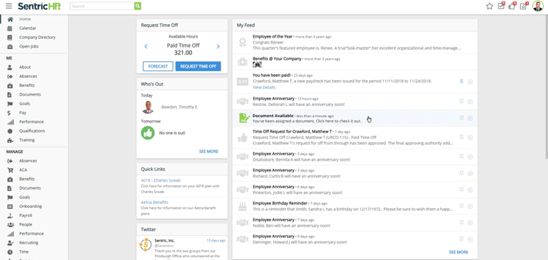 SentricHR dashboard showing who is scheduled for time off and a feed of notifications for user.