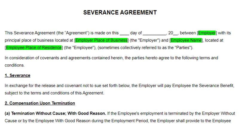 A severance agreement template from Upcounsel.