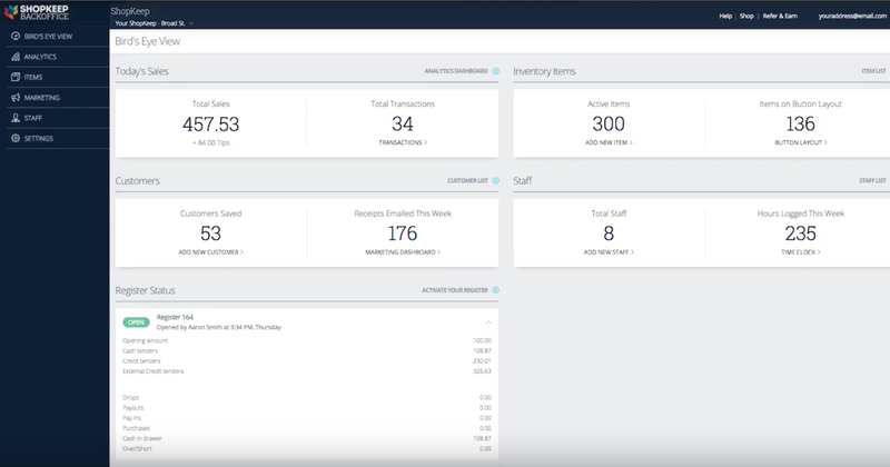 A screenshot of ShopKeep's dashboard for managing your business.