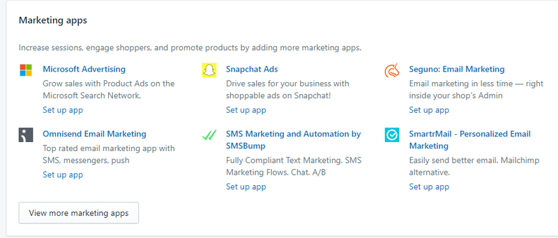Some of Shopify's marketing integrations including Microsoft Advertising, Snapchat Ads, Omnisend Email Marketing, etc.
