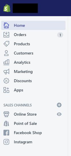 Screenshot of Shopify navigation menu