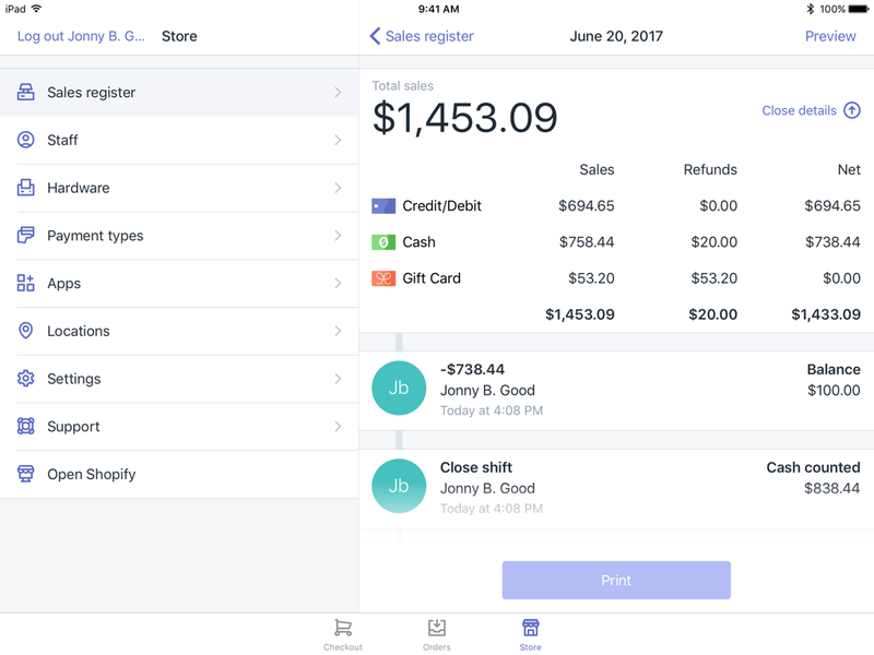 Shopify POS employee register and sales report for a single shift.