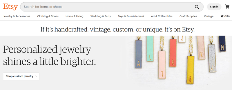 Etsy's homepage features a search bar to drive traffic to products and stores.