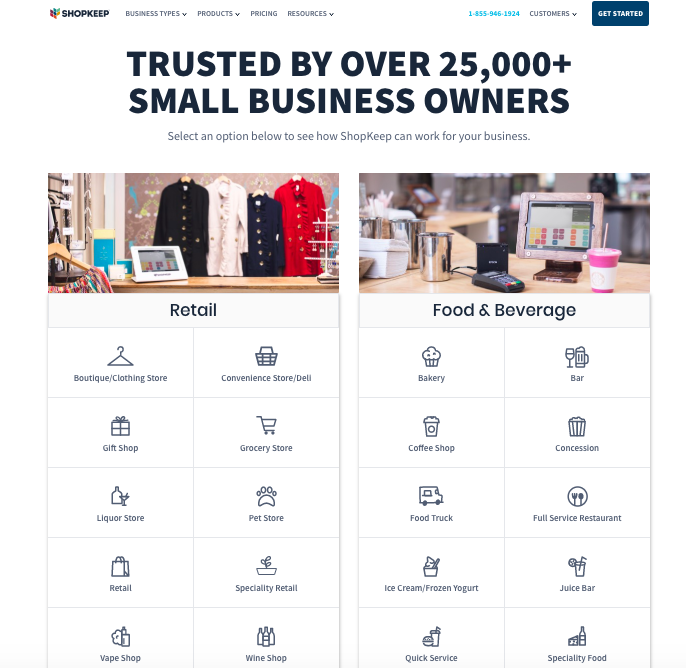 A screenshot of ShopKeep's information about what businesses it works with.