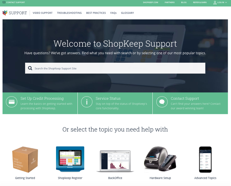 A screenshot of ShopKeep's support area for issues and questions.