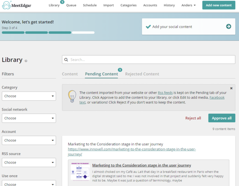 The image shows pending recommended content on the MeetEdgar library, as well as filters, content categories, search bar, and the content preview and link.