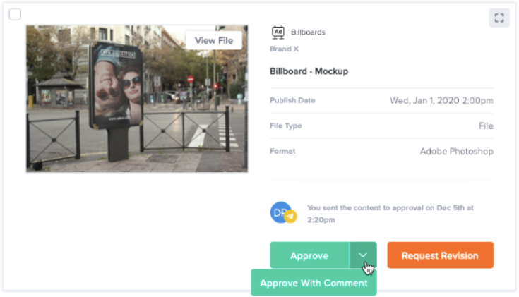 A content draft of a billboard mockup, the content's details, and clickable Approve and Request Revision buttons.