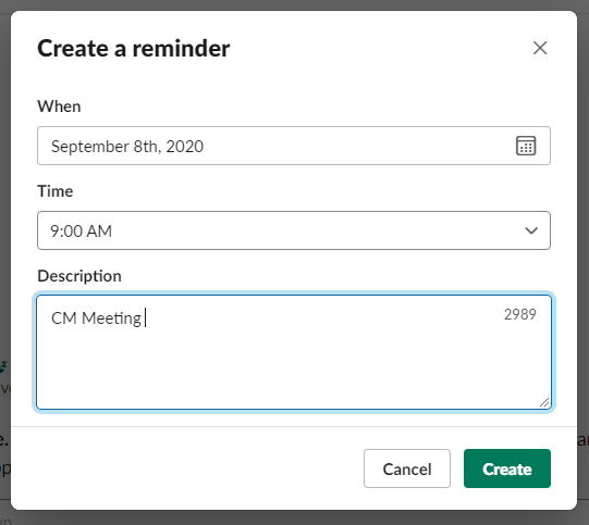 """A box entitled """"Create a reminder"""" lets the user enter the date, time, and a short description of the reminder."""