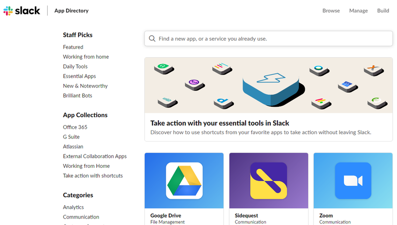 A screenshot of the Slack app directory page showing some of the third-party apps users can integrate with Slack out of the box.