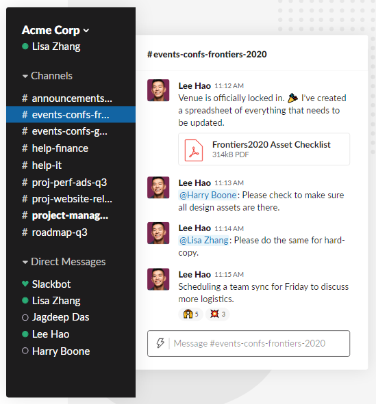 A screenshot of a Slack workspace with numerous project or team channels.