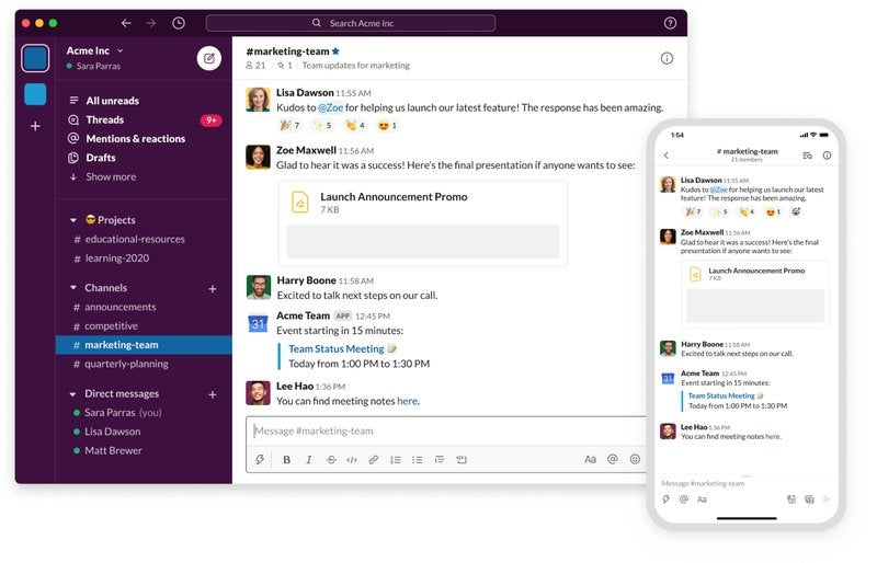 A screenshot of a Slack workspace with the navigation bar on the left-hand side.